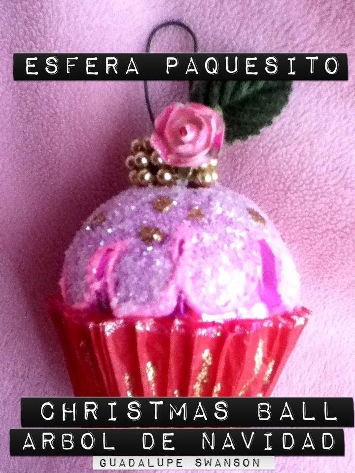 Panquesito Cupcakes  de esfera y diamantina decoración Árbol de Navidad Christmas Ball cute ORNAMENT