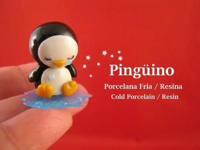 Pingüino en Porcelana Fria. Resina - Cold Porcelain. Resin