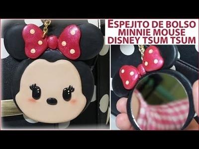 TUTORIAL MINNIE MOUSE TSUM TSUM. ESPEJITO O CHARM DE BOLSO DE ARCILLA POLIMÉRICA. Diy Disney.