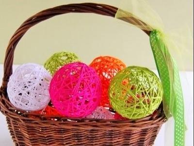Bolas decorativas de Hilo o Lana Facil - Como hacer una bolas de Hilo o Lana