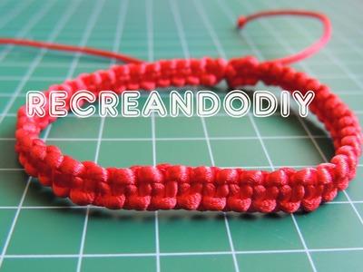 Como hacer una pulsera de macrame nudo basico con cierre ajustable. Bracelet knot.