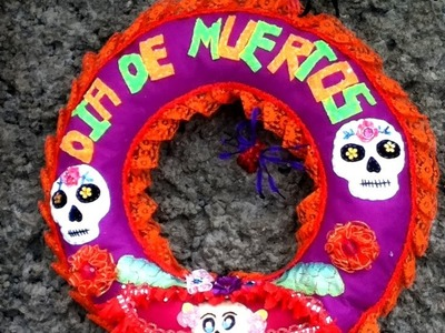 DIY Corona día de muertos fieltro listón cinta crown felt halloween ideas