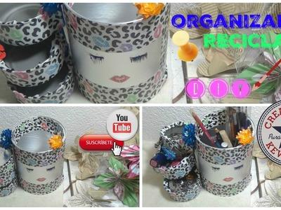 Organizador Reciclado con latas para maquillaje.RECYCLED CANS ORGANIZER DIY
