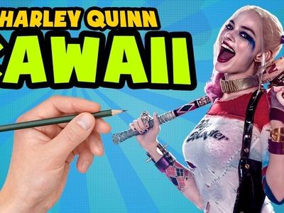 COMO DIBUJAR A HARLEY QUINN ESTILO KAWAII - Como dibujar a HARLEY Quinn paso a paso