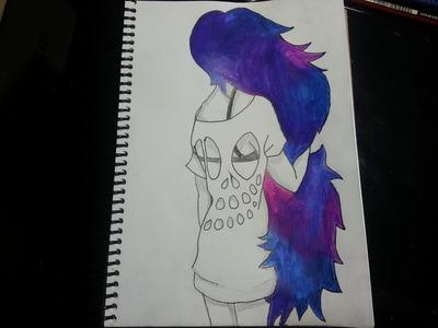 Como dibujar.pintar una chica con cabello de galaxia