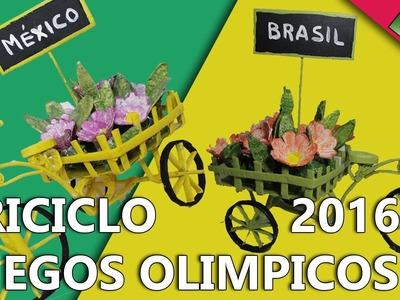 COMO HACER UN TRICICLO PARA DECORAR DE LOS JUEGOS OLIMPICOS DE RIO 2016 | Manualidades para decorar