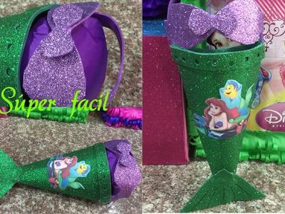 Dulcero fácil, lindo y original de la Sirenita, birthday bag