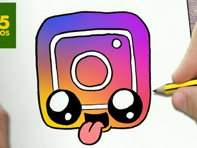 COMO DIBUJAR LOGO INSTAGRAM KAWAII PASO A PASO - Dibujos kawaii faciles -  draw a logo Instagram
