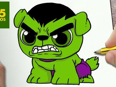 COMO DIBUJAR UN PERRO HULK KAWAII PASO A PASO - Dibujos kawaii faciles - How to draw a DOG HULK