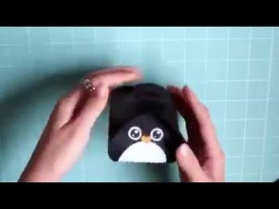 Como hacer una caja con forma de pingüino