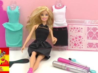 Demo: Barbie diseño de modas - COMO HACER VESTIDO sin COSER para BARBIE