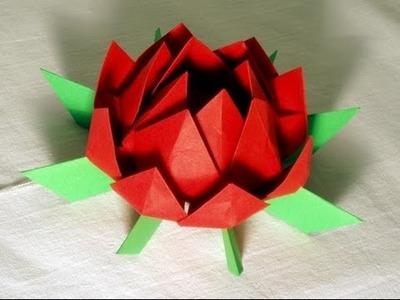 Origami lirio de agua, como hacer lirio de agua de papel