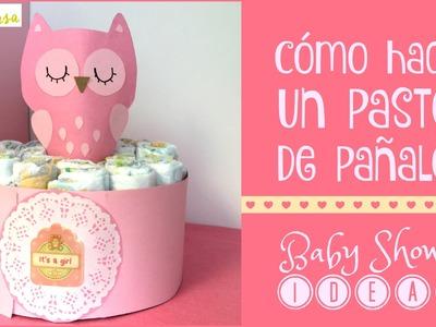 Cómo hacer un pastel de pañales para niña