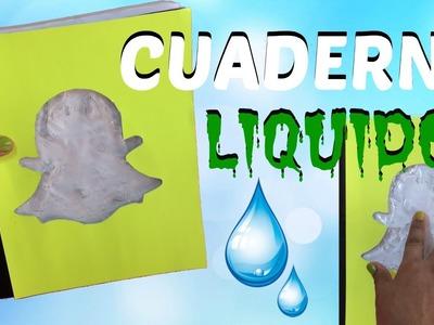 DIY CUADERNO LIQUIDO. DECORA TUS CUADERNOS.CUADERNO DE SNAPCHAT