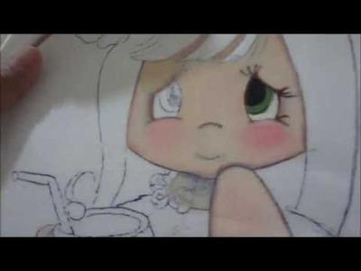 Pintura  en tela  Puntada Fantasía Niña Coco  marimur  679