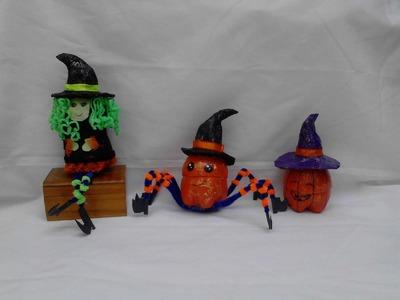 3 dulceros Halloween con botellas desechables