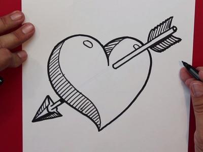 Cómo dibujar un Corazon atravesado por una flecha - How to draw a heart with an arrow