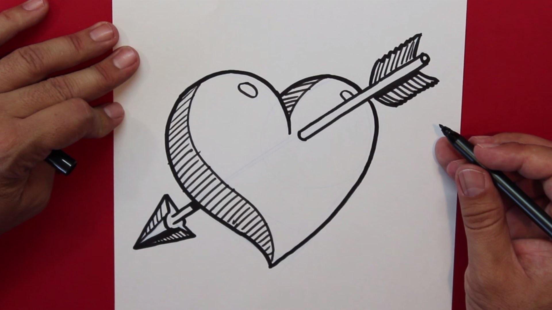 Como Dibujar Un Corazón En 3d Con Lineas: Cómo Dibujar Un Corazon Atravesado Por Una Flecha
