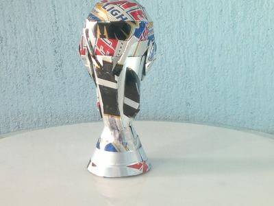 Copa FIFA hecha con latas de aluminio tutorial