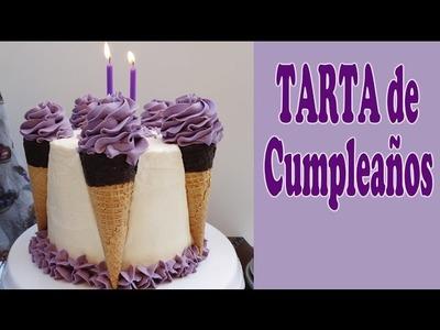 Tarta de cumpleaños con decoración original, pastel muy fácil