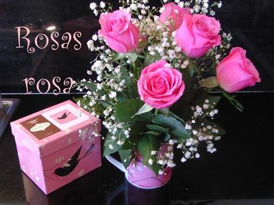 Como hacer arreglo floral de Rosas dentro de una taza, para ella. Centerpiece
