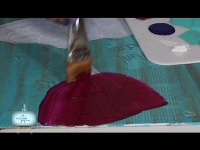 Técnicas mixtas: Cuadro de flores en un  fondo con decoupage y acrilico acuarelado!!