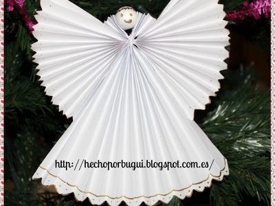 Como hacer un Abeto y Angel de papel. Decoración de navidad.