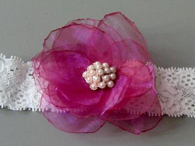 Flor de circulos de organza - organza fabric flower