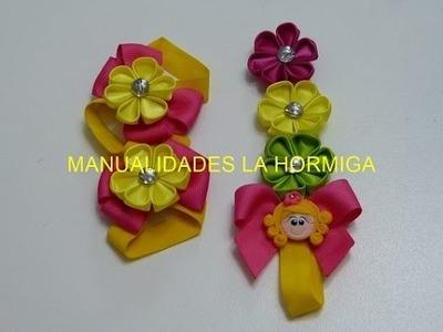 Pies descalzos para bebes y balaca delgada con flores kanzashi, #518, Accesorios infantiles