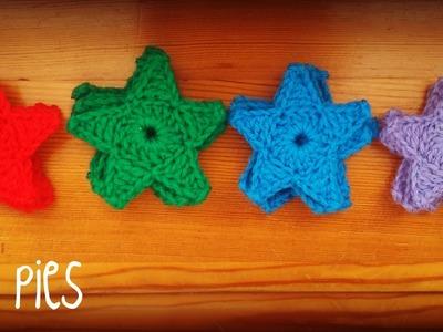 Aplique de estrella a crochet.