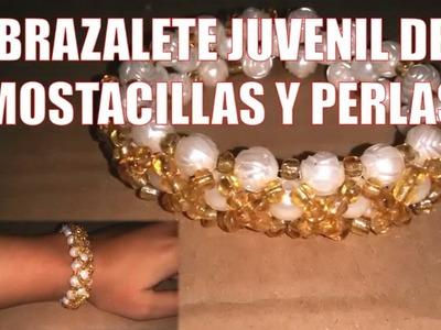 Brazalete de MOSTACILLAS y perlas - Bisutería fina ( Tutorial paso a paso)
