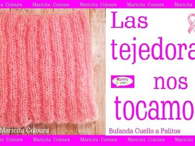 """Bufanda Cuello """"Rosa"""" a Palitos #Las Tejedoras nos tocamos Lucha contra el Cáncer de Seno"""
