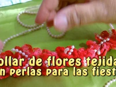 Collar de flores tejidas con perlas para las fiestas patrias |Creaciones y manualidades angeles