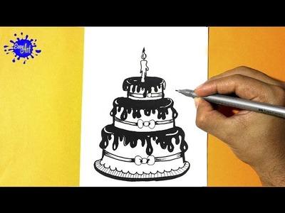 Como dibujar un pastel l how to draw a cake l Feliz cumpleaños