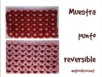 Muestra punto corazones  reversible a crochet