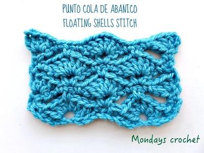 Punto Cola de abanico. Floating shells stitch