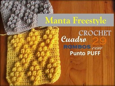 PUNTO ROMBO PUFF a crochet - cuadro 29 manta FREESTYLE (zurdo)