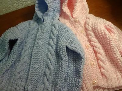 Sueter con gorro para bebé talla 18 meses, parte 5, costuras y terminado.