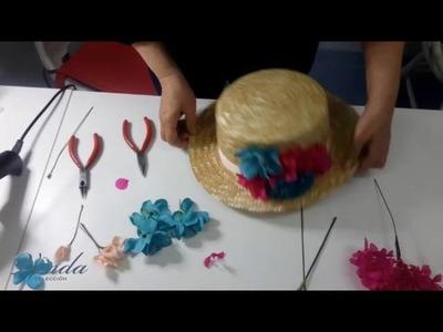 Como decorar un canotier con flores