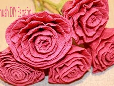 Como Hacer Flores Rosas de Papel Crepe Faciles
