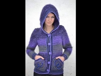 Sweater cróchet con gorra  video 7 (Opciones de bolsas)