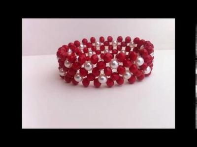 Brazalete rojo cristal con perla