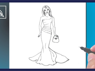 Cómo Dibujar a Barbie En Vestido De Gala - How To Draw Barbie In Dress Gala | Dibujando