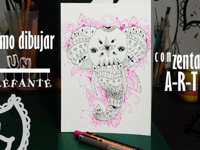 Como dibujar un elefante con zentangle art l How to draw an elephant with zentangle art