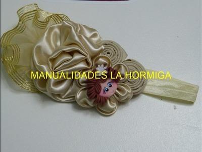 Faciles Tiaras con flores de tela y liston, Como hacer una Rosa de tela y listón