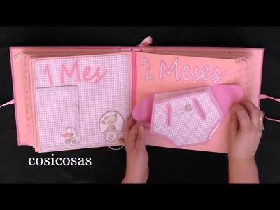 """Scrapbooking :Álbum recien nacido """"niña"""""""