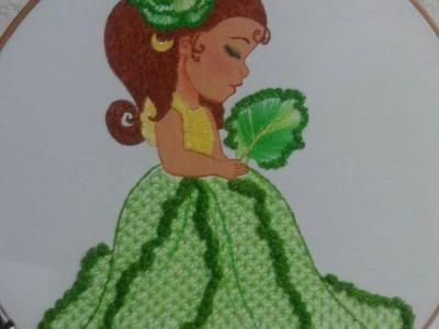 Bordado Fantasia Puntada falda de la niña lechuga