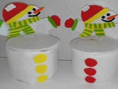 Como hacer  dulcero de muñeco nieve con botellas de plastico adornos navideños manualidades tutorial