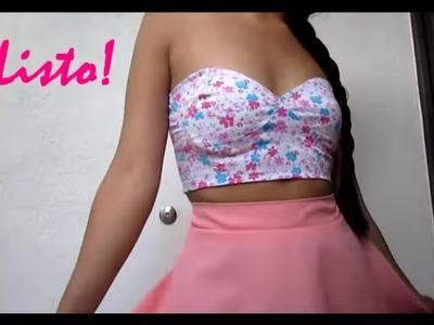 Como Hacer una blusa Crop Tops, Bralets en Minutos Tutorial de Corte y Costura + Patrones Venezuela