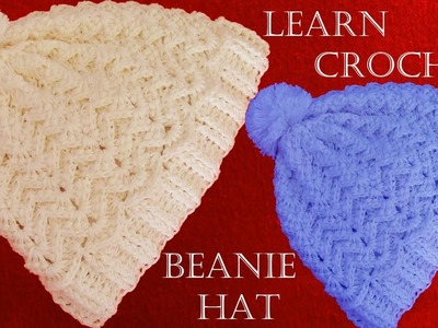 Como tejer gorro con relieve a Crochet o ganchillo - Learn Crochet Beanie How to